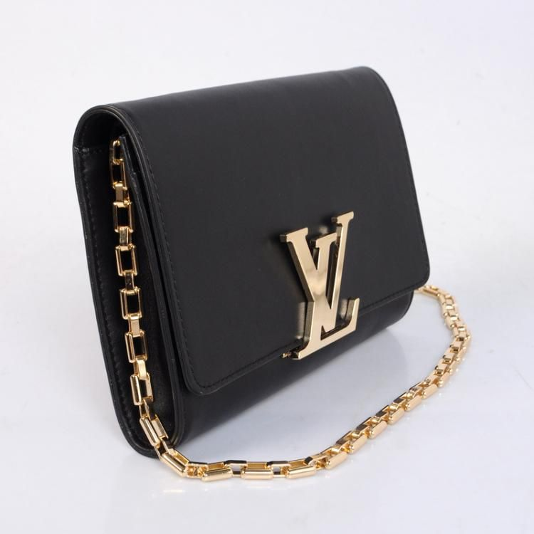c7311b081767 Louis Vuitton 2013 New Evening Clutch Chain Louise M94335 Black ...