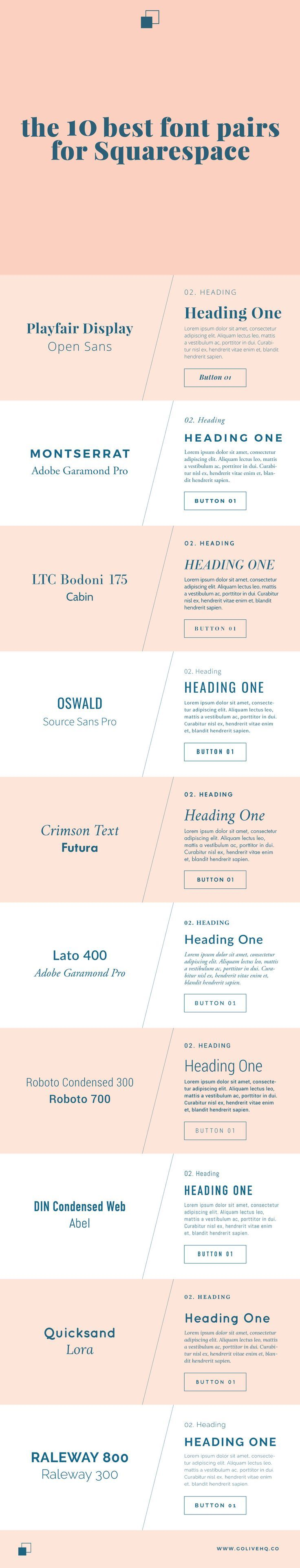 10 best font pairs for Squarespace. Cool fonts
