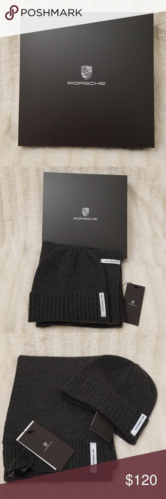 Porsche Hat Beanie and Scarf Set Knitted Merino Wool Acrylic Porsche Gift Set