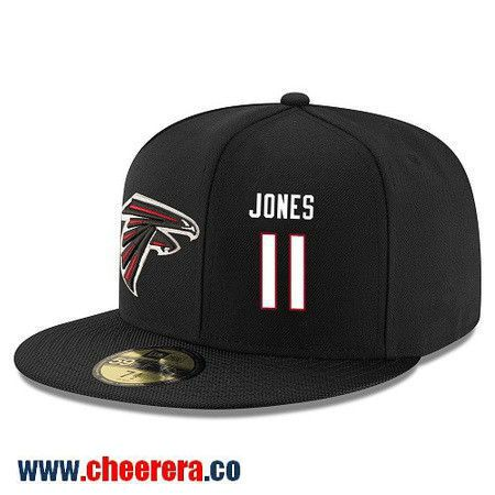 Atlanta Falcons #11 Julio Jones Snapback Cap NFL Player Black with White Number Stitched Hat