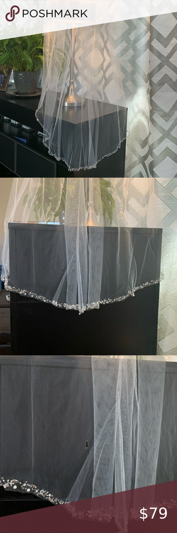 Fingertip Bridal Veil Comb Beaded Wedding Veil Beaded Wedding Veils Beaded Wedding Bridal Veil Combs