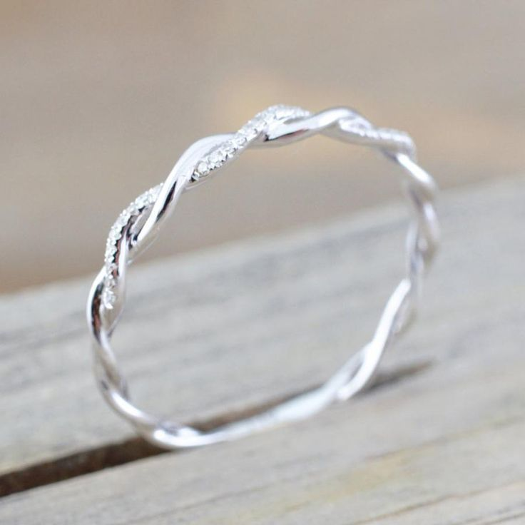 Photo of Daphne Dainty Crystal Rose Gold Twist Ring