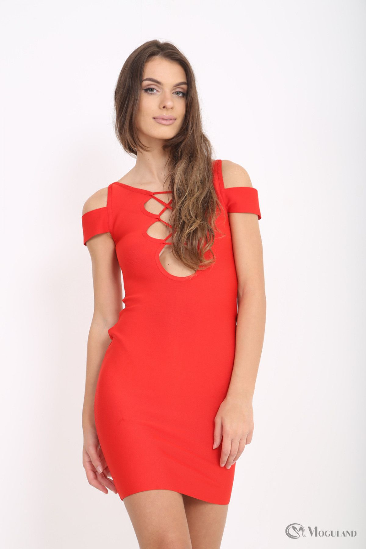 63abbb1f6f Ladies red cold shoulder plunge bandage dress wholesale - Women s Wholesale  Clothing Supplier