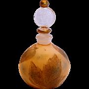 French Art Glass Perfume Bottle Intaglio Cut Autumn Leaves c 1910