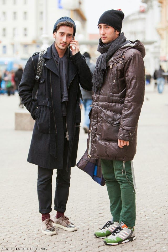 trainers with winter outfit, street style look, men