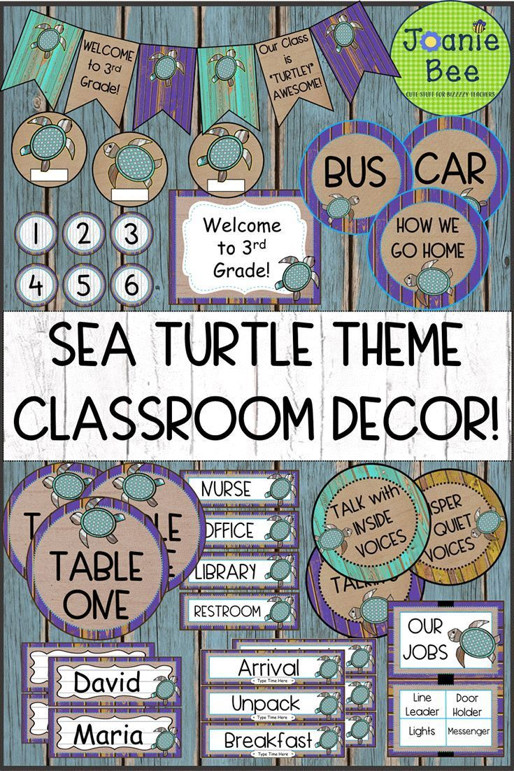 NEW Beachy Chic Sea Turtle Themed Classroom Decor… THE BUNDLE! This set includ... -
