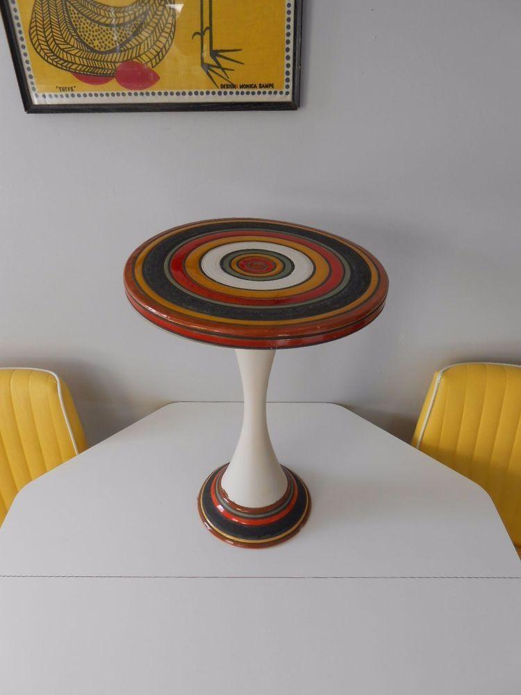 Rare Italy Pottery Aldo Londi For Bitossi Pedestal Table Mid Century Modern