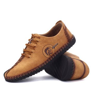 Men's Lace-up Derby Shoes Casual Shoes Flat Round Toe