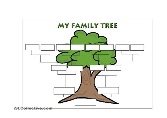 a simple template for students to create their own family tree esl