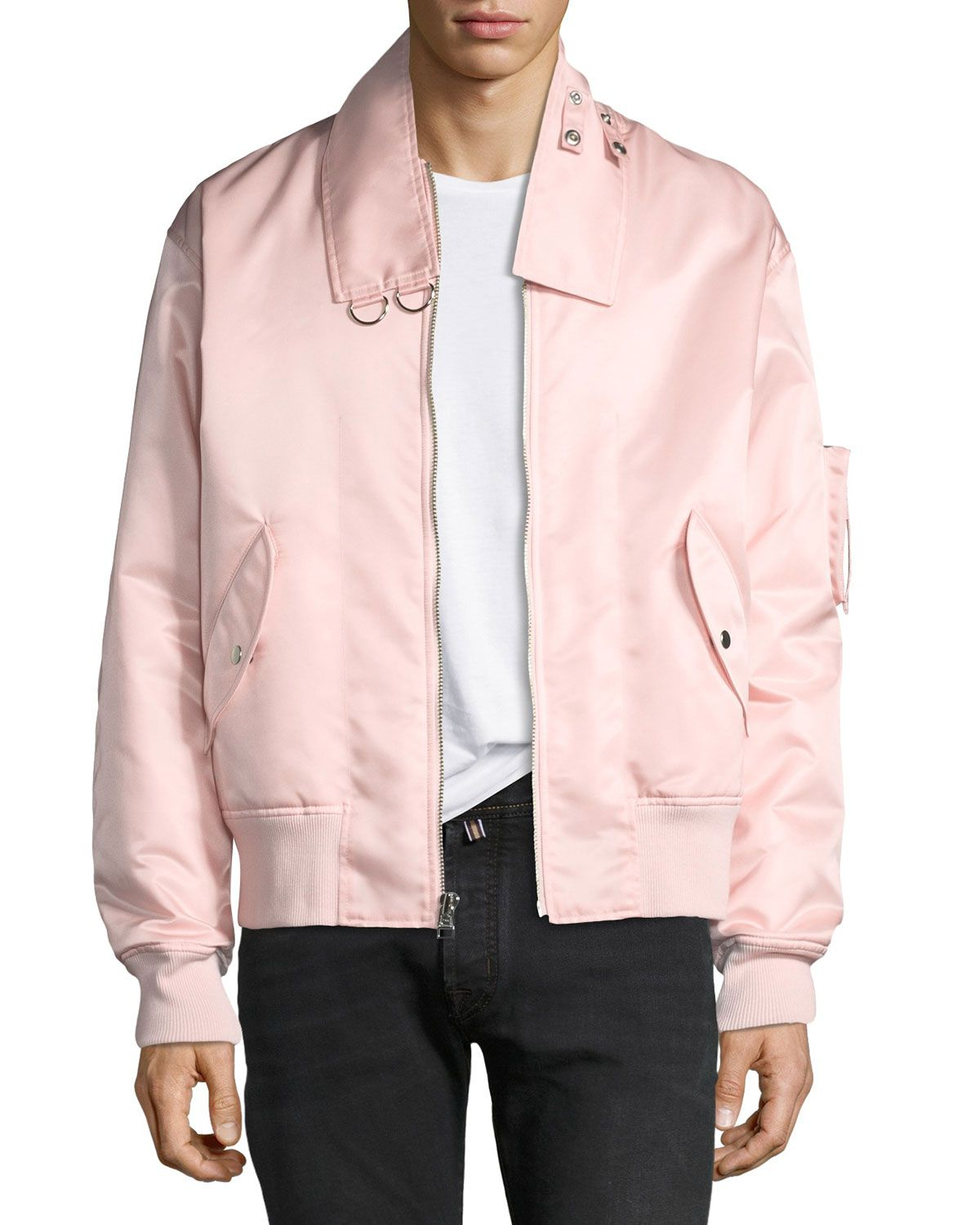155429e26 HELMUT LANG MEN'S PANEL-NECK SATIN BOMBER JACKET. #helmutlang #cloth ...
