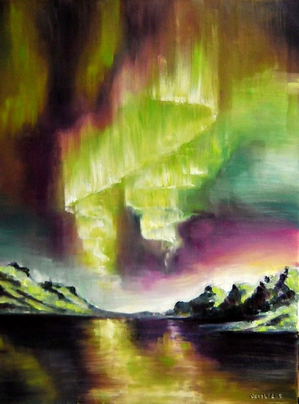 aurora borealis by veracauwenberghs on deviantart oil on linen painting beautiful. Black Bedroom Furniture Sets. Home Design Ideas