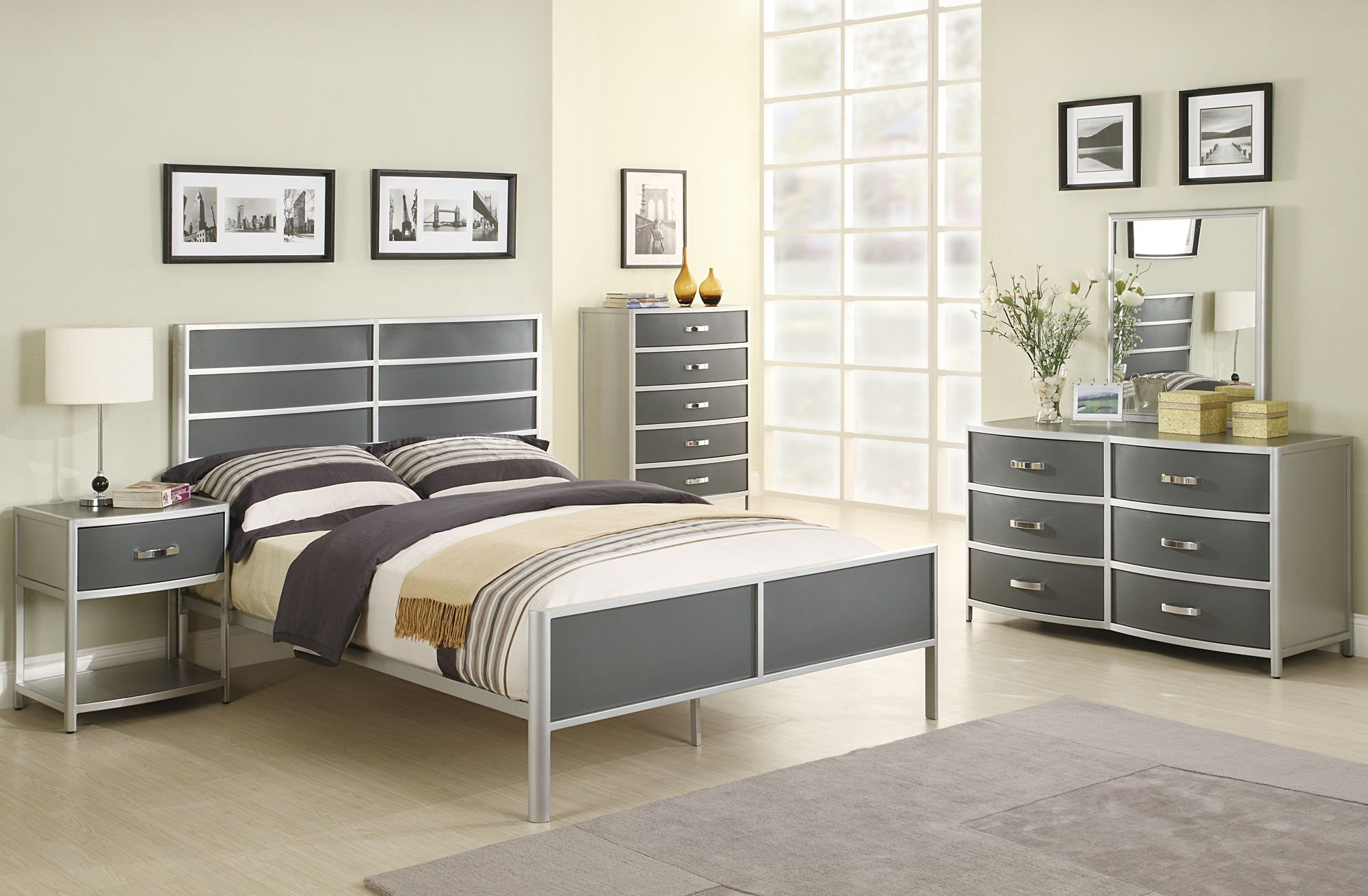 Modern Twin Bedroom Set Idea With Metal Master Bed And Nightstand