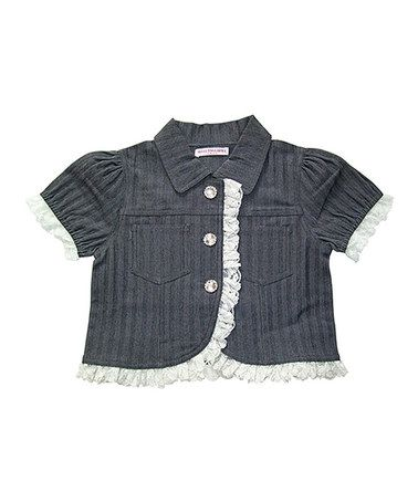 This Gray Stripe Selena Ruffle Jacket - Toddler & Girls by Mini Treasure Kids is perfect! #zulilyfinds