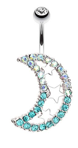 Triple Stars and Moon Belly Button Ring - 14 GA (1.6mm) - Teal/Aurora Borealis - Sold Individually