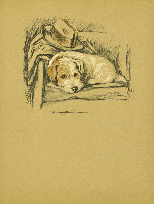 VIntage Dog Print, Terrier Print, Puppy Antique Wall Decor, Art ...