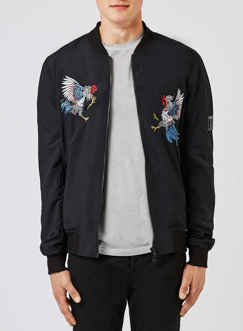 RELIGION Black Embroidered Bomber Jacket - Men's Coats & Jackets ...