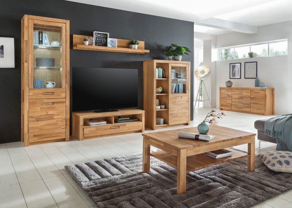 Wohnwand Massiv Fenja Mit Sideboard Schrank Holz Wildeiche 22208    Wohnzimmer Schrankwand Landhausstil