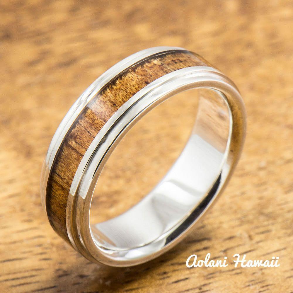 Sterling silver ring with hawaiian koa wood inlay mmmm width