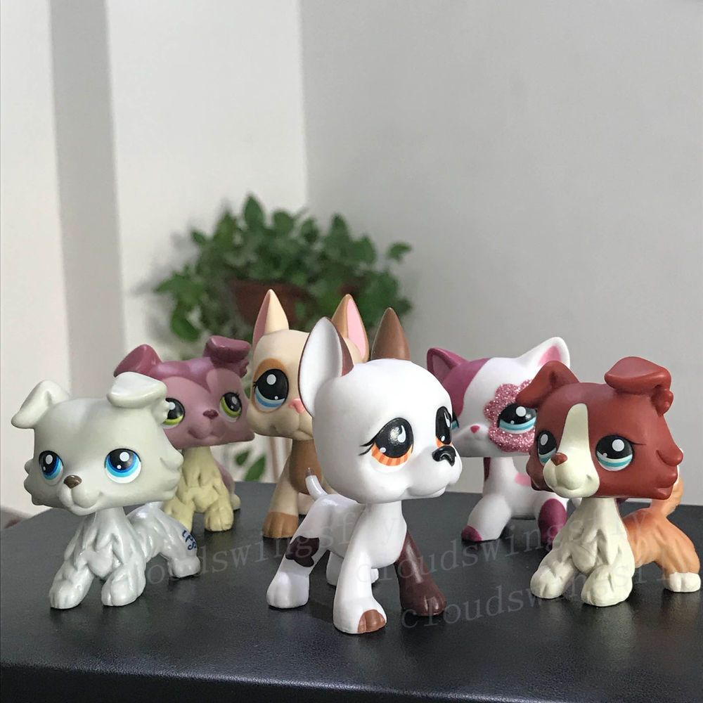 6 Lot Rare Littlest Pet Shop Lps Toy Great Dane Dogs Collie Cat