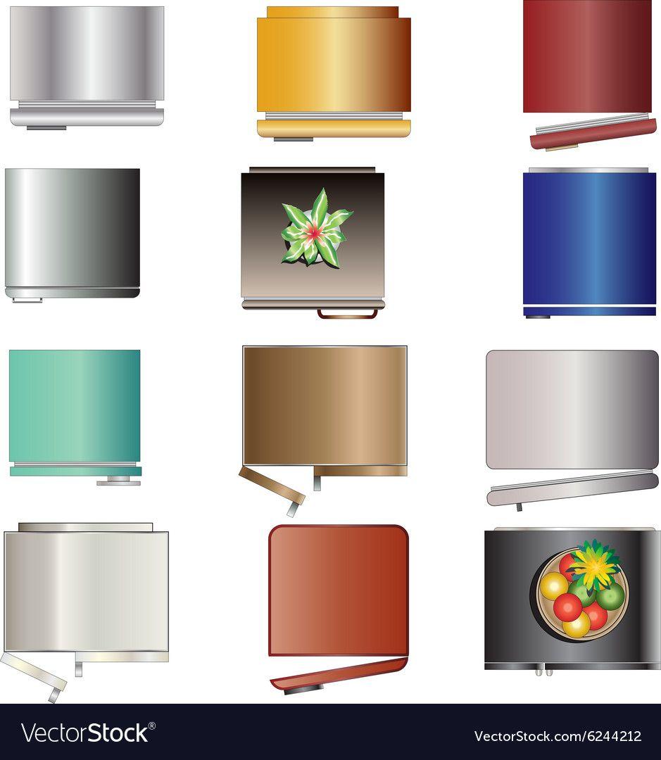kitchen equipment refrigerators top view set 6 vector image on mobilya photoshop klasör on kitchen interior top view id=91414
