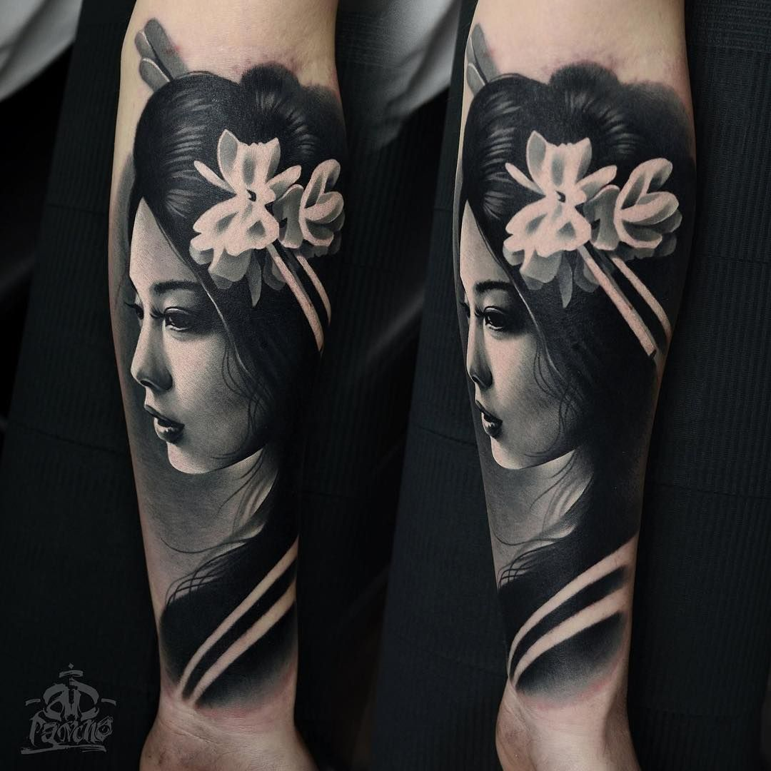 Beautiful geisha tattoo done by ad pancho tattoos for Minimal art betekenis
