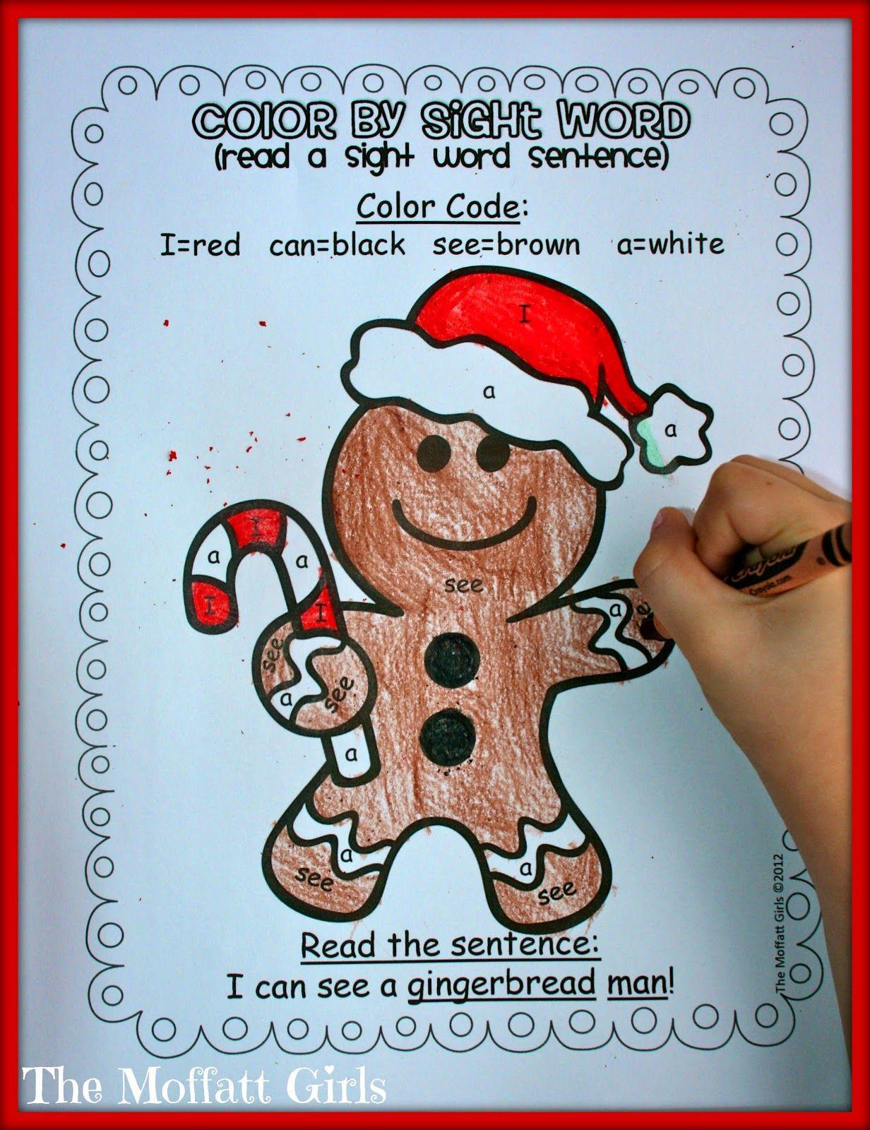 Color By Sight Word Gingerbread Christmas Learning Christmas Kindergarten Winter Kindergarten Activities [ 1600 x 1232 Pixel ]