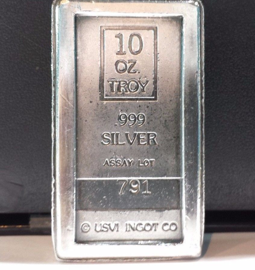 Rare Ten Troy Ounce A Mark Usvi Ingot Co 10 Oz 999 Fine Silver Stacker Bar Nr Ingot Silver 10 Things