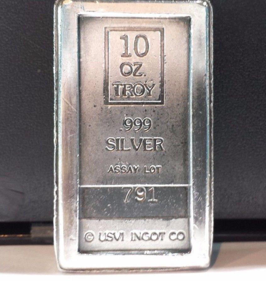 Rare Ten Troy Ounce A Mark Usvi Ingot Co 10 Oz 999 Fine Silver Stacker Bar Nr Ingot Silver 10 Things