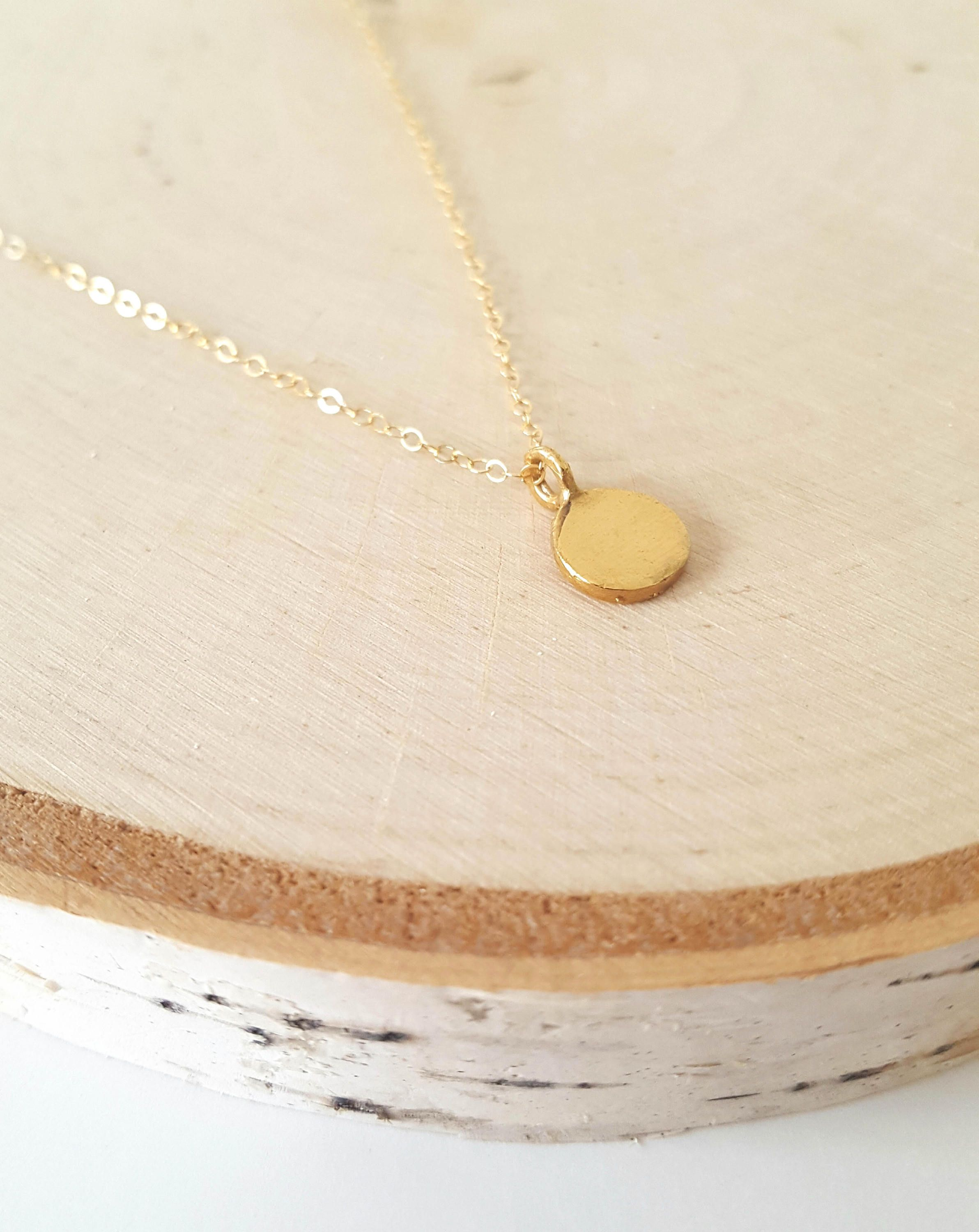 Gold disc necklace gold disc pendant gold layered necklace gold this everyday small gold pendant necklace is a beautiful and simple layering piece that you aloadofball Image collections
