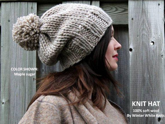 WINTER WOOL HAT, Pom pom knit hat, beanie hat, cozy soft slouchy hat ...