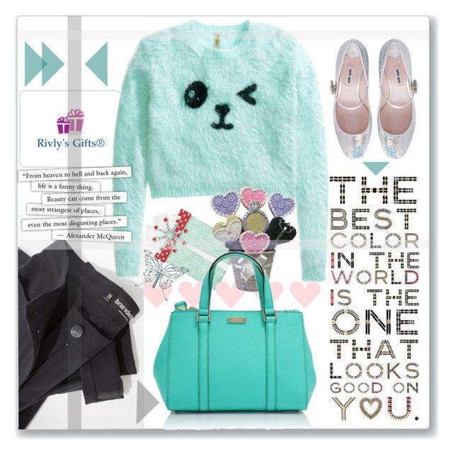 """""""Looks good on you"""" by gina-m ❤ liked on Polyvore featuring H&M, Miu Miu, contest, katespade, fashionset, TealDress and RivlysGifts"""
