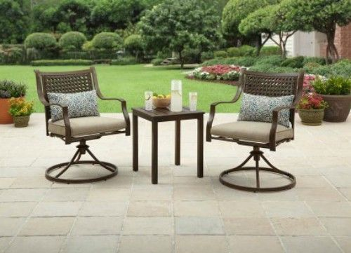 Patio Furniture 3 Pc Bistro Set Outdoor Balcony Companion Table Swivel Chairs