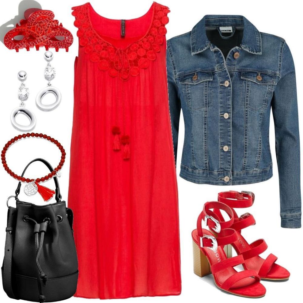 Kleid Mit Spitze Rot
