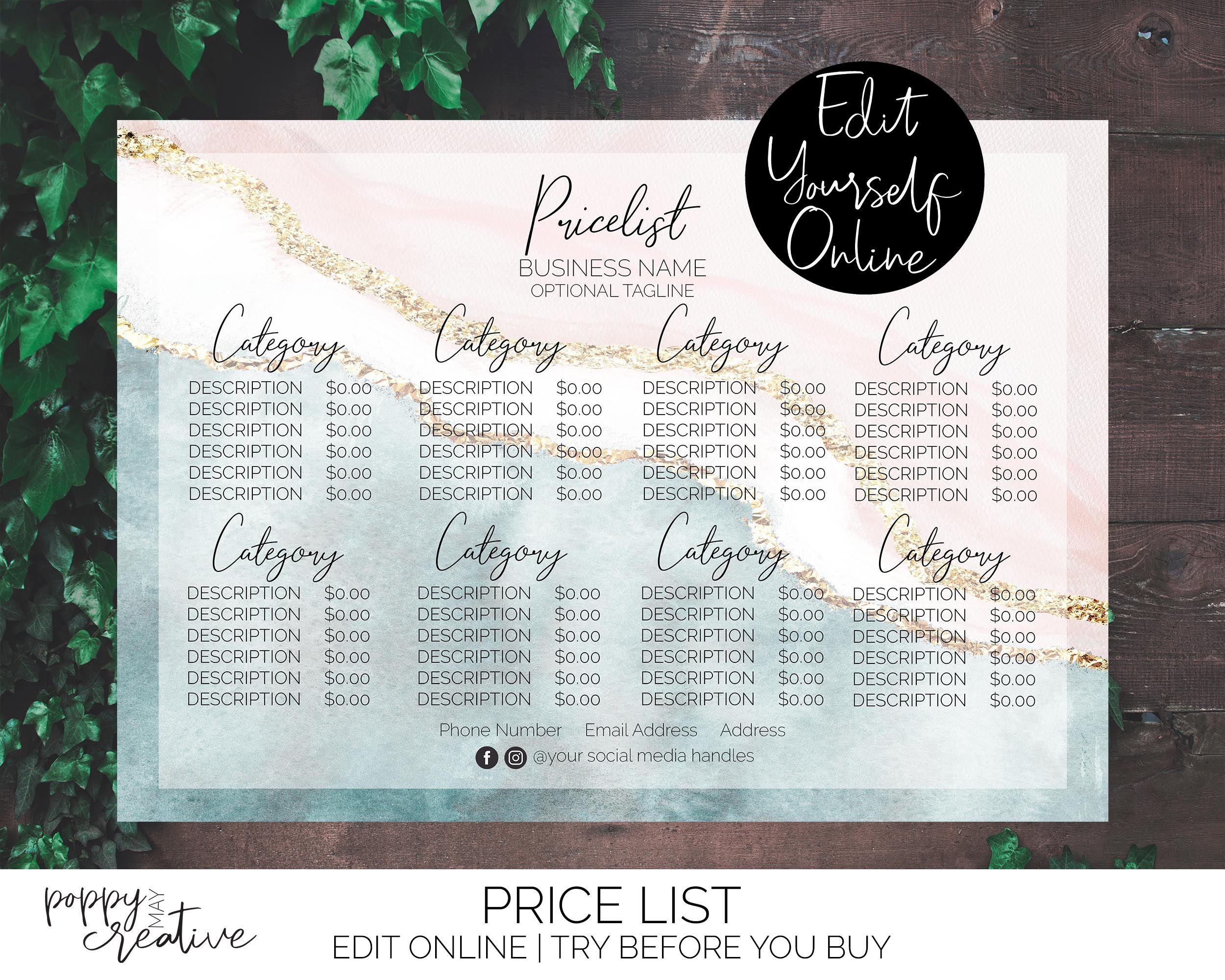 A4 Pricelist, Watercolour Salon Menu Price List Template