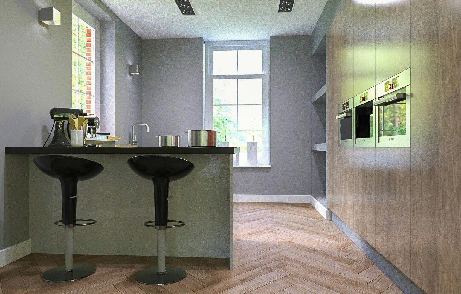 Keuken ontwerp 3d tekening Sketchup Thea render