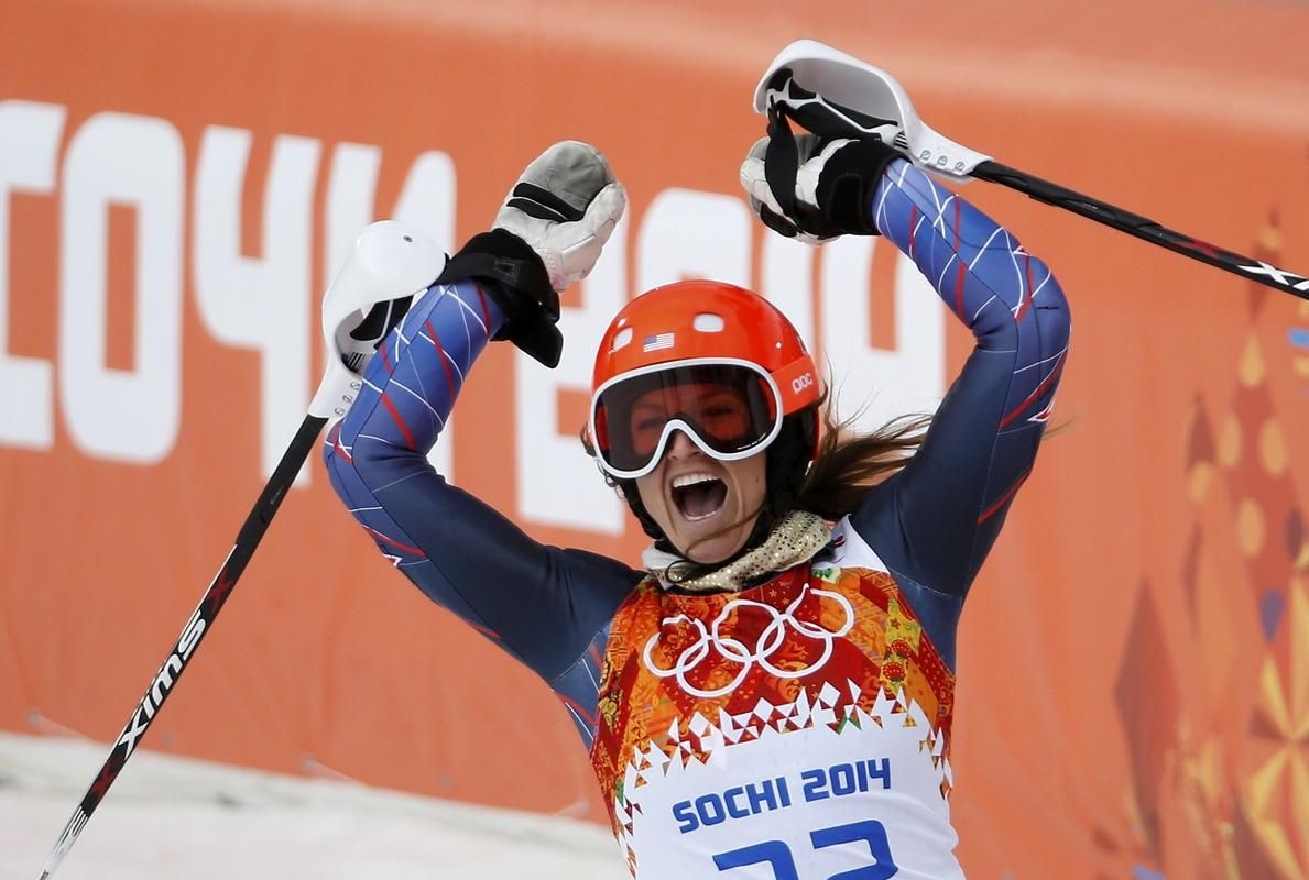Julia Mancuso of the U.S. reacts in the finish area after