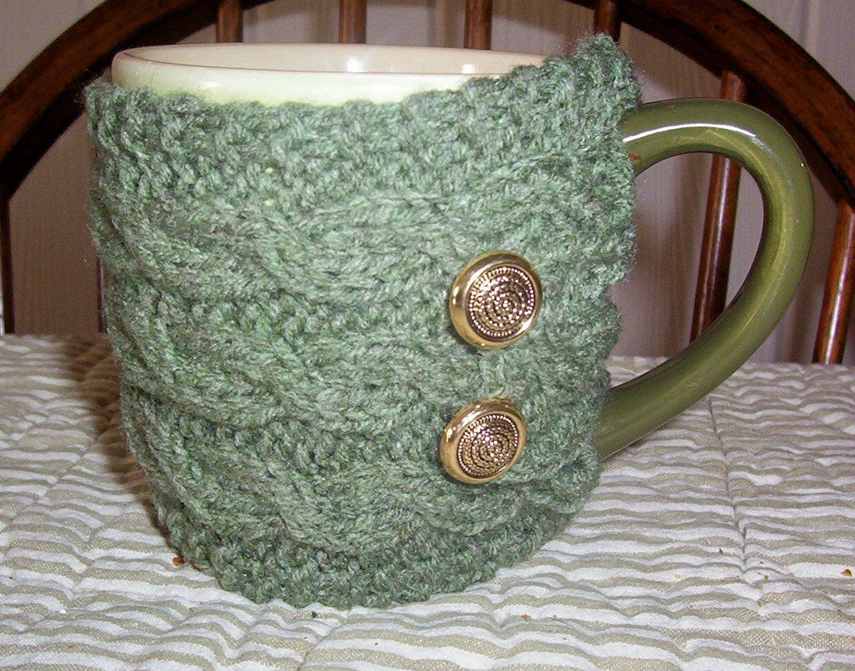 Coffee Tea Mug Cup Cozy Sleeve Knit Cabled Sage Heather
