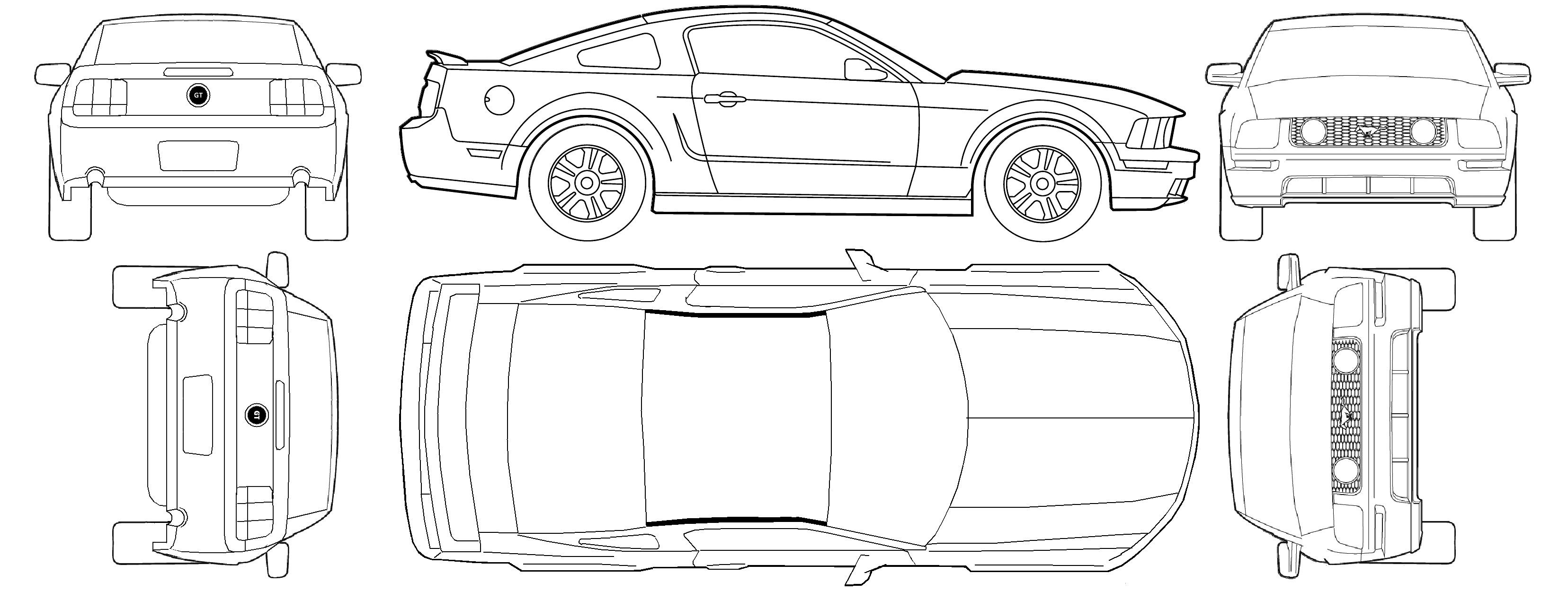 Free Car Blueprint Ford Mustang Gt V8