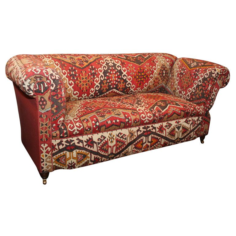 Antique Kilim Covered Sofa Convertible Day Bed