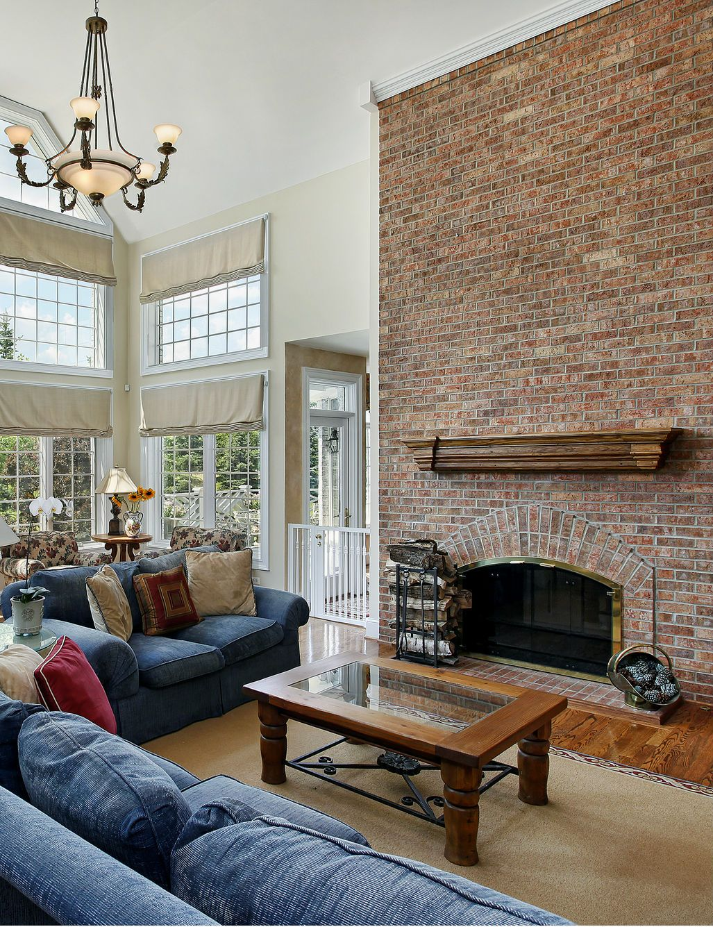 cozy living room design with a brick fireplace