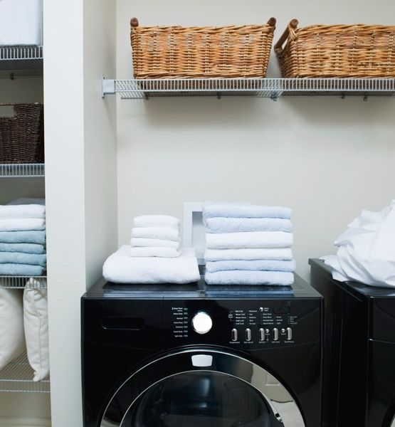 "What's in a Name?  Once you have cleaned out the laundry room and grouped like items, place them in labeled cabinets, bins or baskets to keep the order. ""My philosophy is to label any container that you cannot clearly see into,"" says LeBlanc. ""You want a clear definition of what's in there, and it'll encourage you to stay organized."""