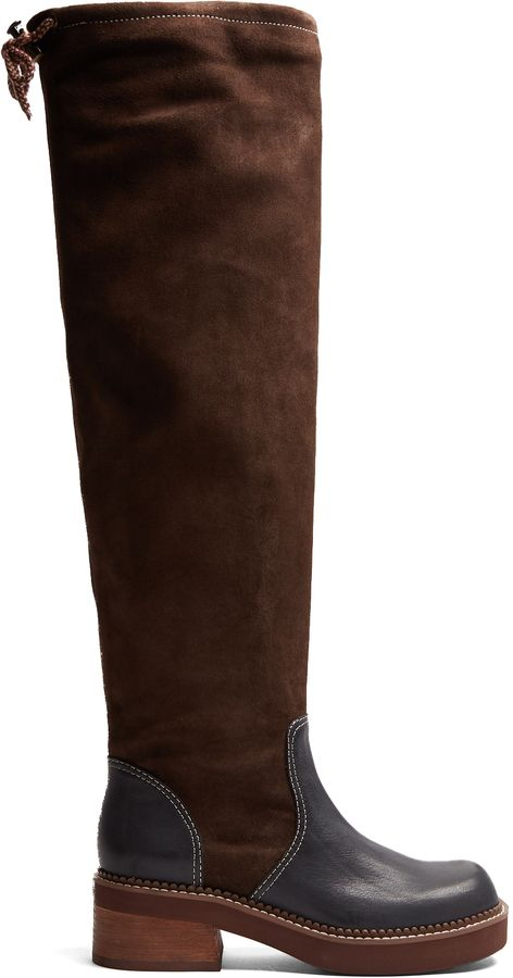 b73751fb23 SEE BY CHLOÉ Dominika suede and leather knee-high boots | These ...