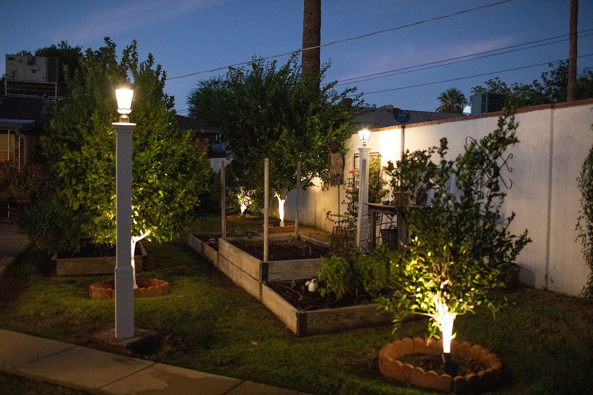 Adding Warm Solar LED Lights Posts + Solar Tree Lights