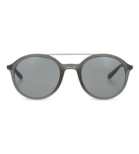 GIORGIO ARMANI Ar8077 Metal Top Bar Round-Frame Sunglasses. #giorgioarmani #sunglasses