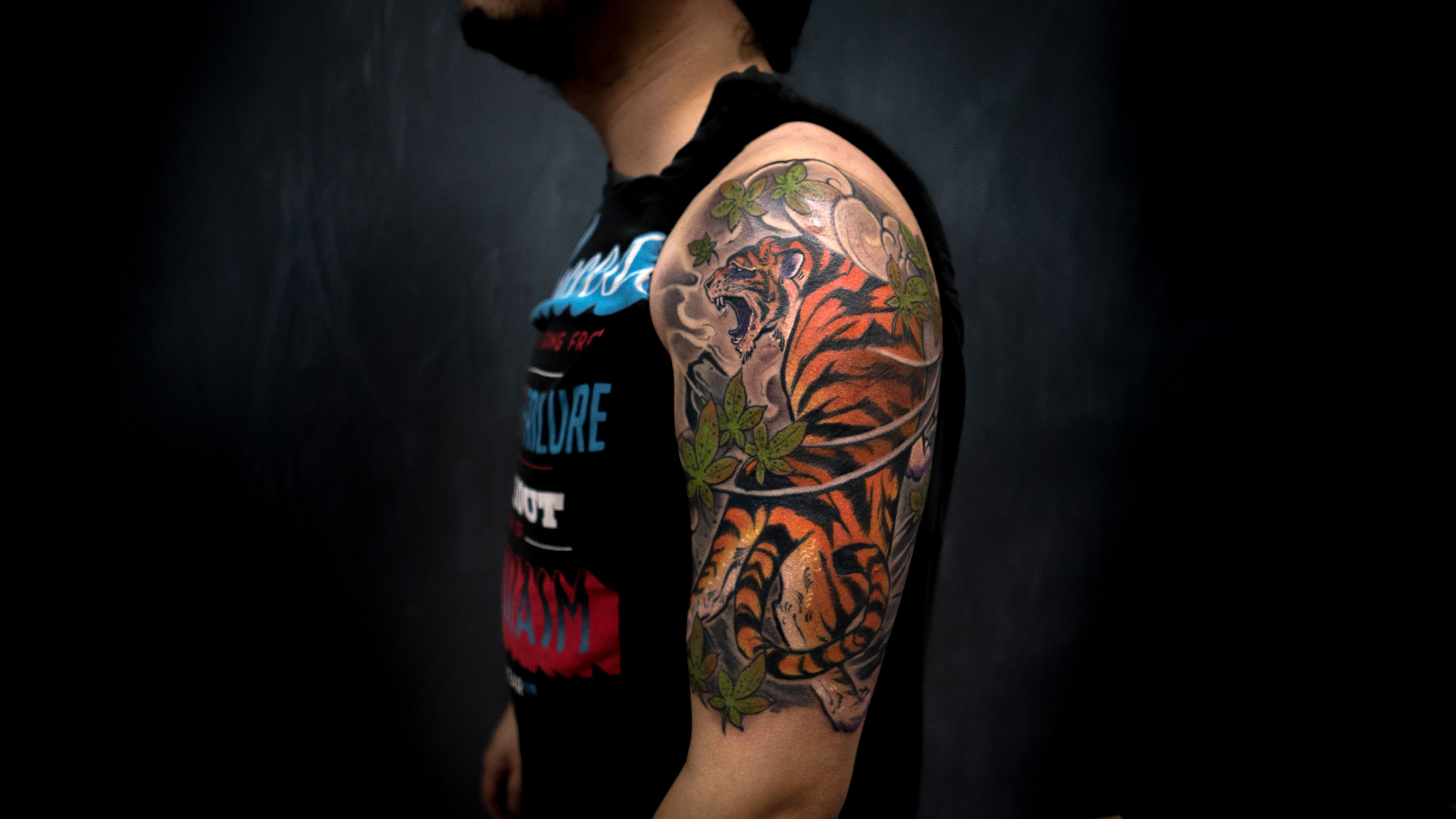 tattoo tattoos ink inked tiger halfsleeve japanese irezumi