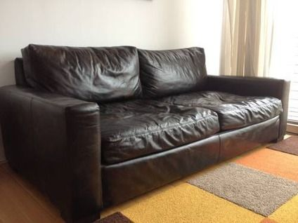 $1,800 Restoration Hardware Maxwell Sofa In Glove Leather $1800 OBO