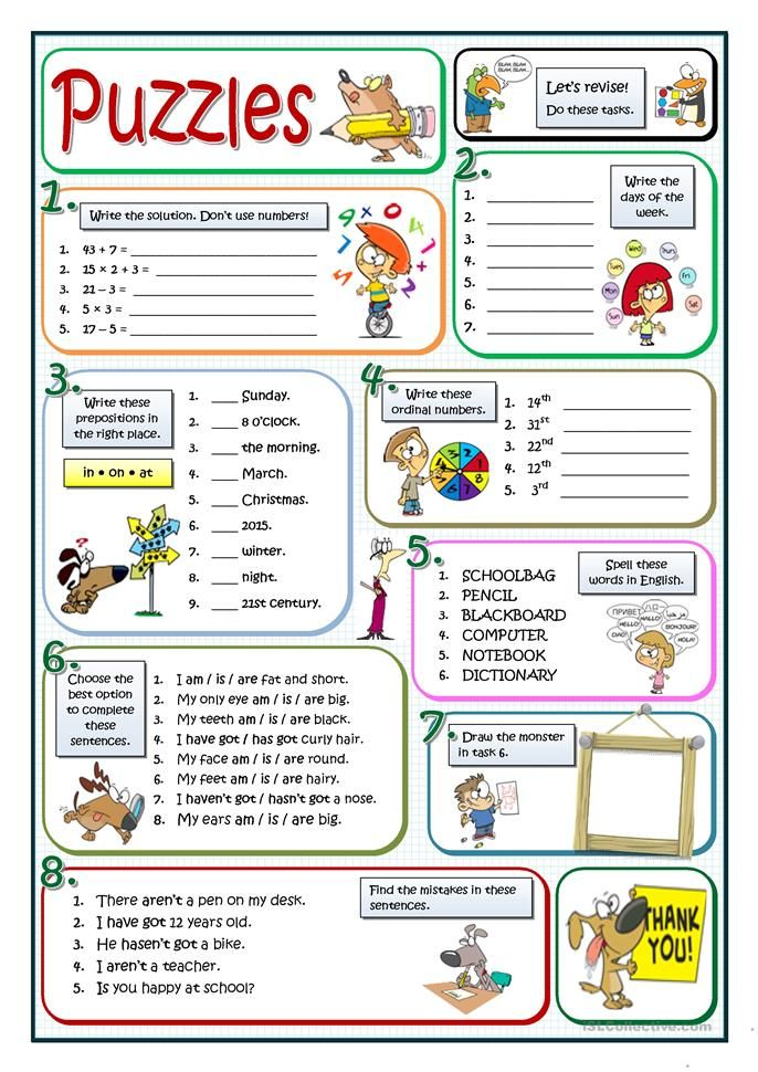 BASIC PUZZLES English ESL Worksheets for distance