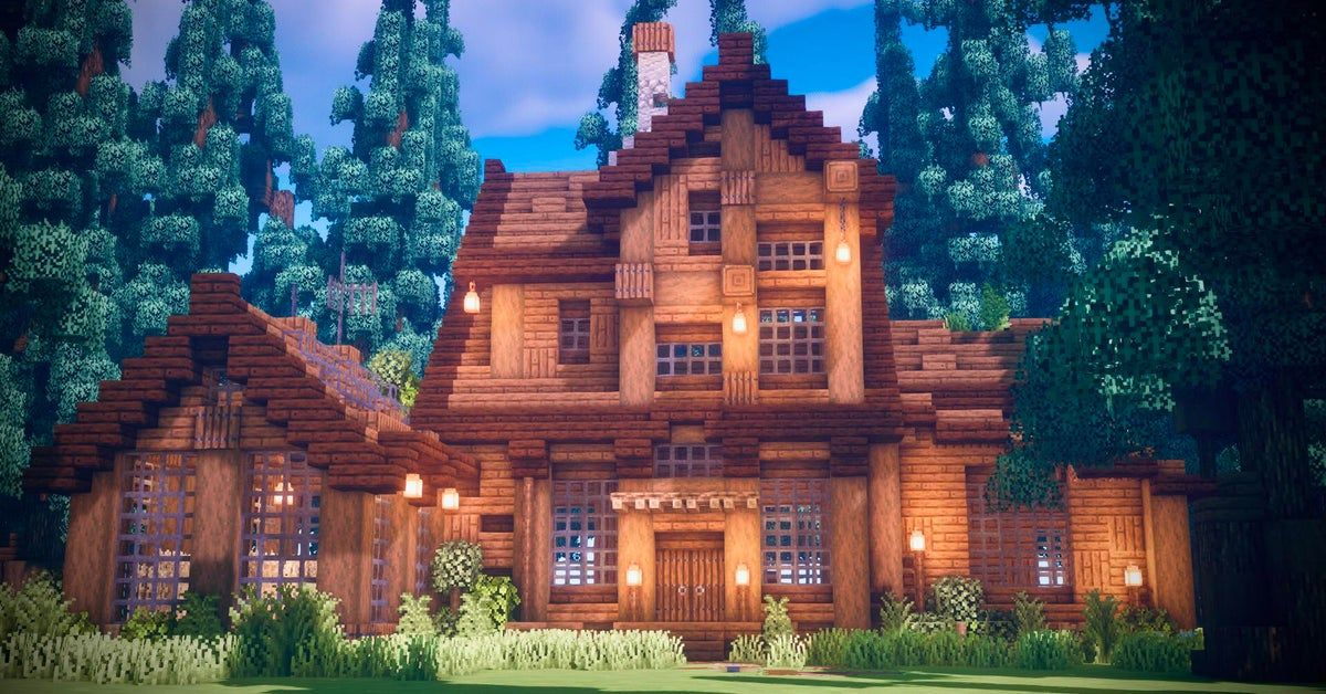 Wooden House In some woods : Minecraft in 2020   Easy ...