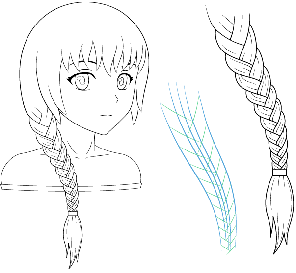 How To Draw Braided Hair Braids For Anime Manga Characters In 2020 Anime Drawings Anime Braids How To Draw Braids
