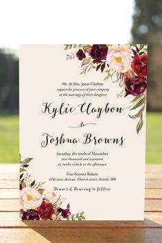 Bohemian Burgundy Blush Wedding Invitation Templat
